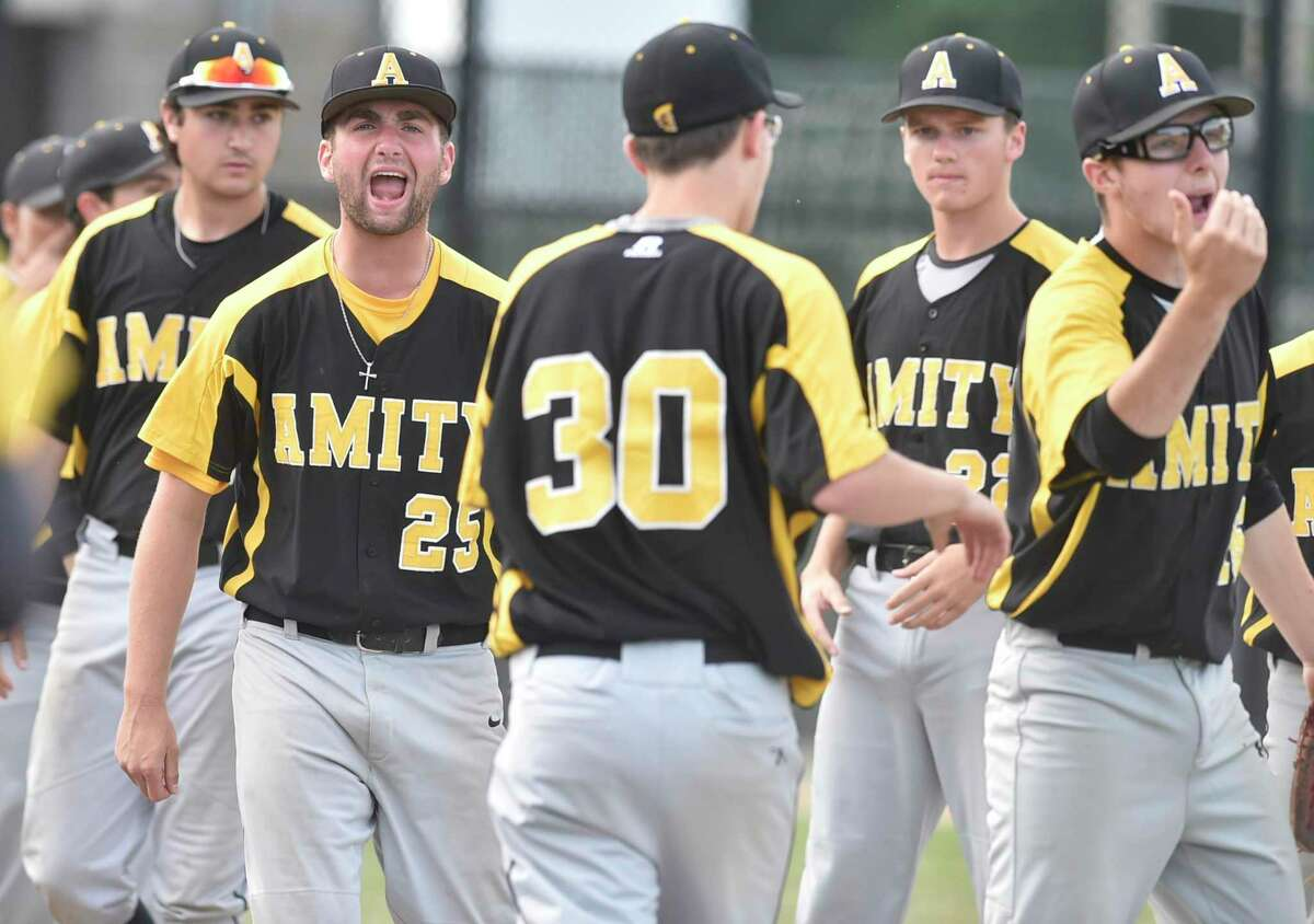 Waterbury, Connecticut - Tuesday, June 3, 2019: Amity HS vs.  Southington HS during Tuesday's 2019 CIAC Class LL State Baseball Tournament Semifinals at the Municipal Stadium in Waterbury.  Southington HS beat Amity HS 3-2.