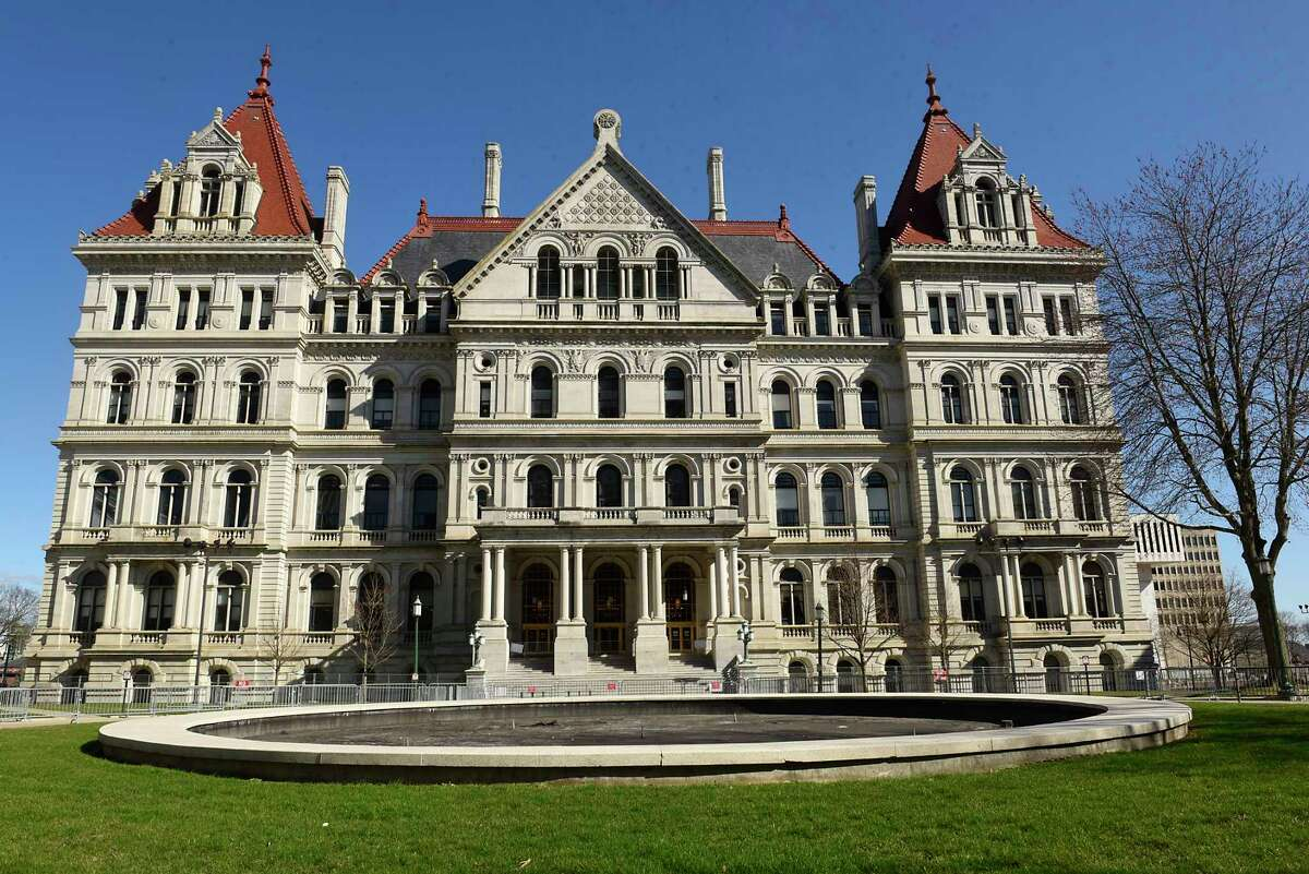 Exterior of the New York State Capitol on Wednesday, April 7, 2021 in Albany, N.Y. A three-way deal was reached between the Senate, Assembly and governor on how to spend $212 billion of public money for next year. (Lori Van Buren/Times Union)