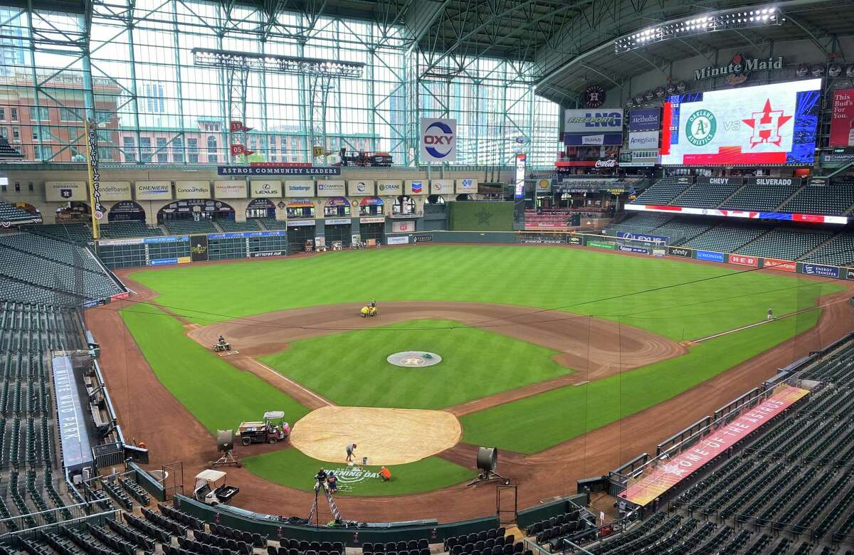 A look at Minute Maid Park on Wednesday, April 7, 2021, a day before the Houston Astros' home opener against the Oakland Athletics.