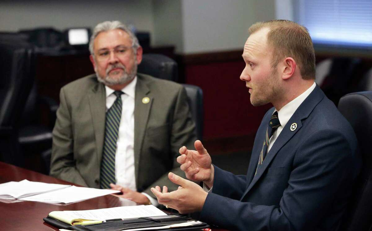 District Attorney Joe D. Gonzales, left, and Conviction Integrity Unit Director Matthew Howard, shown in this file photo, Wednesday announced the exoneration of Mikhail Timofeyev on a more than 10-year-old assault conviction.