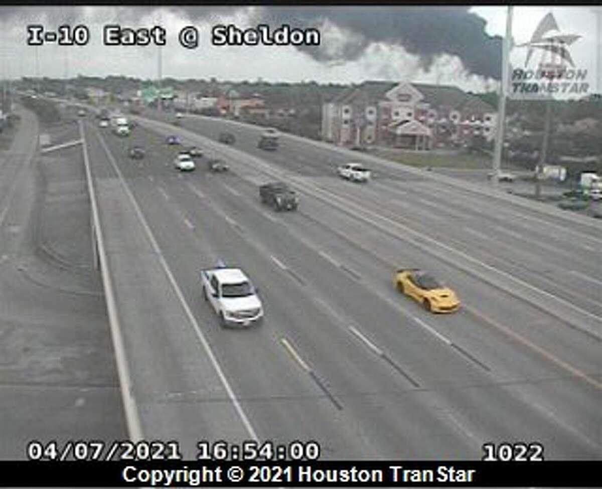 Smoke is seen from a Houston TranStar traffic camera.