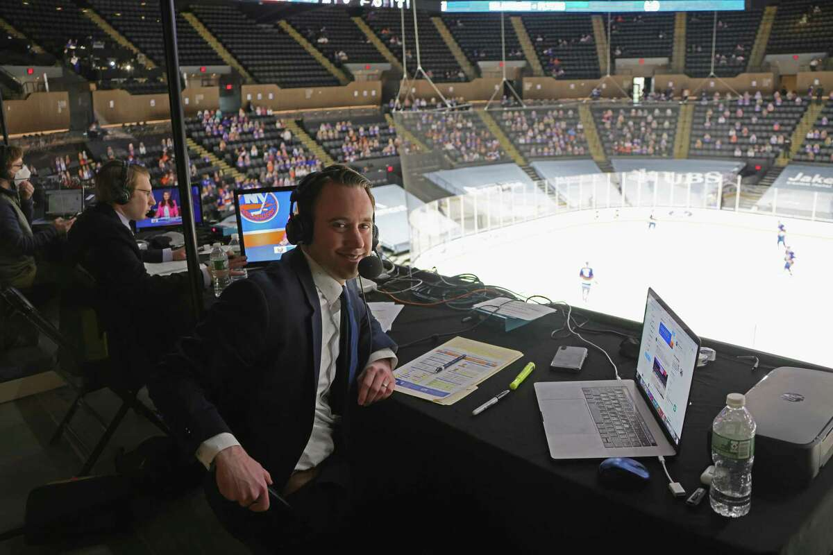 Sound Tigers broadcaster Alan Fuehring prepares to work his first NHL game for Islanders radio on Saturday in Uniondale, N.Y.
