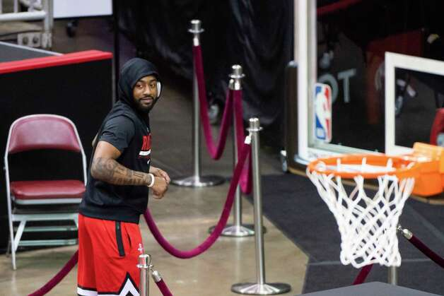 Houston Rockets guard John Wall (1) runs off the court after warming up before an NBA game between the Houston Rockets and Dallas Mavericks on Wednesday, April 7, 2021, at Toyota Center in Houston. Photo: Mark Mulligan, Staff Photographer / © 2021 Mark Mulligan / Houston Chronicle
