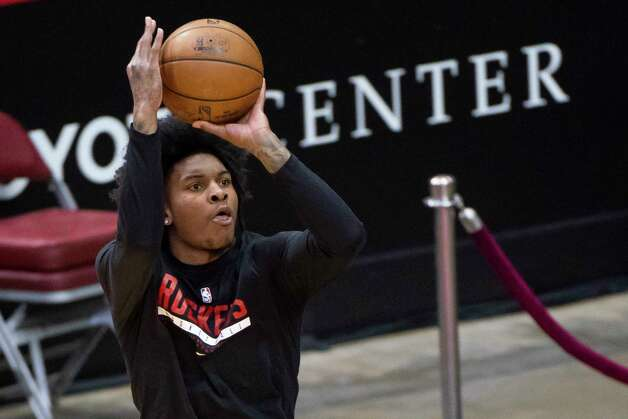 Houston Rockets guard Kevin Porter Jr. (3) warms up before an NBA game between the Houston Rockets and Dallas Mavericks on Wednesday, April 7, 2021, at Toyota Center in Houston. Photo: Mark Mulligan, Staff Photographer / © 2021 Mark Mulligan / Houston Chronicle