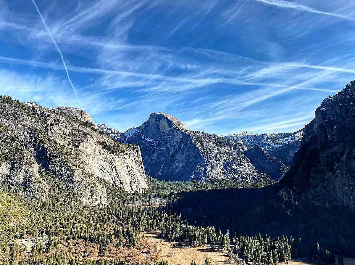 A view of Half Dome from Upper Yosemite Fall. Admission to the park will be limited this summer.