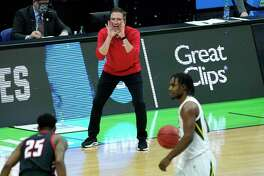 Hartford head coach John Gallagher yells to his players during the second half against Baylor in the first round of the NCAA Tournament at Lucas Oil Stadium on March 19 in Indianapolis.