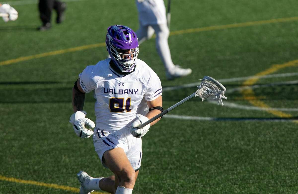 UAlbany defenseman Elijah Gash of the men's lacrosse team. (Jay Bendlin / UAlbany Athletics)