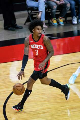 Houston Rockets guard Kevin Porter Jr. (3) dribbles during the first quarter of an NBA game between the Houston Rockets and Dallas Mavericks on Wednesday, April 7, 2021, at Toyota Center in Houston. Photo: Mark Mulligan, Staff Photographer / © 2021 Mark Mulligan / Houston Chronicle