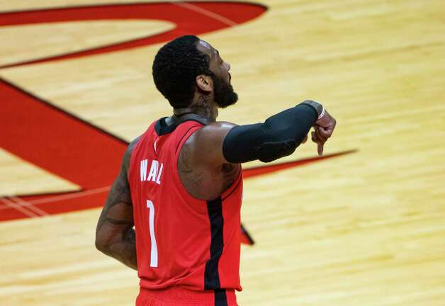 Houston Rockets guard John Wall (1) celebrates a made three point shot during the third quarter of an NBA game between the Houston Rockets and Dallas Mavericks on Wednesday, April 7, 2021, at Toyota Center in Houston. Photo: Mark Mulligan, Staff Photographer / © 2021 Mark Mulligan / Houston Chronicle
