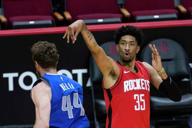 Houston Rockets center Christian Wood (35) shoots a three point shot during the third quarter of an NBA game between the Houston Rockets and Dallas Mavericks on Wednesday, April 7, 2021, at Toyota Center in Houston. Photo: Mark Mulligan, Staff Photographer / © 2021 Mark Mulligan / Houston Chronicle