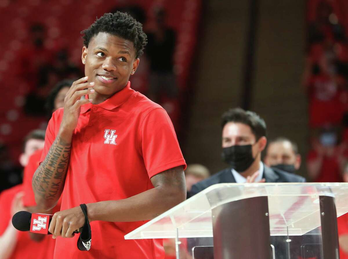 Freshman Marcus Sasser addresses the audience during the University of Houston Athletics Department celebration of the men's basketball team's run to the 2021 Final Four at the Fertitta Center in Houston on Wednesday, April 7, 2021.
