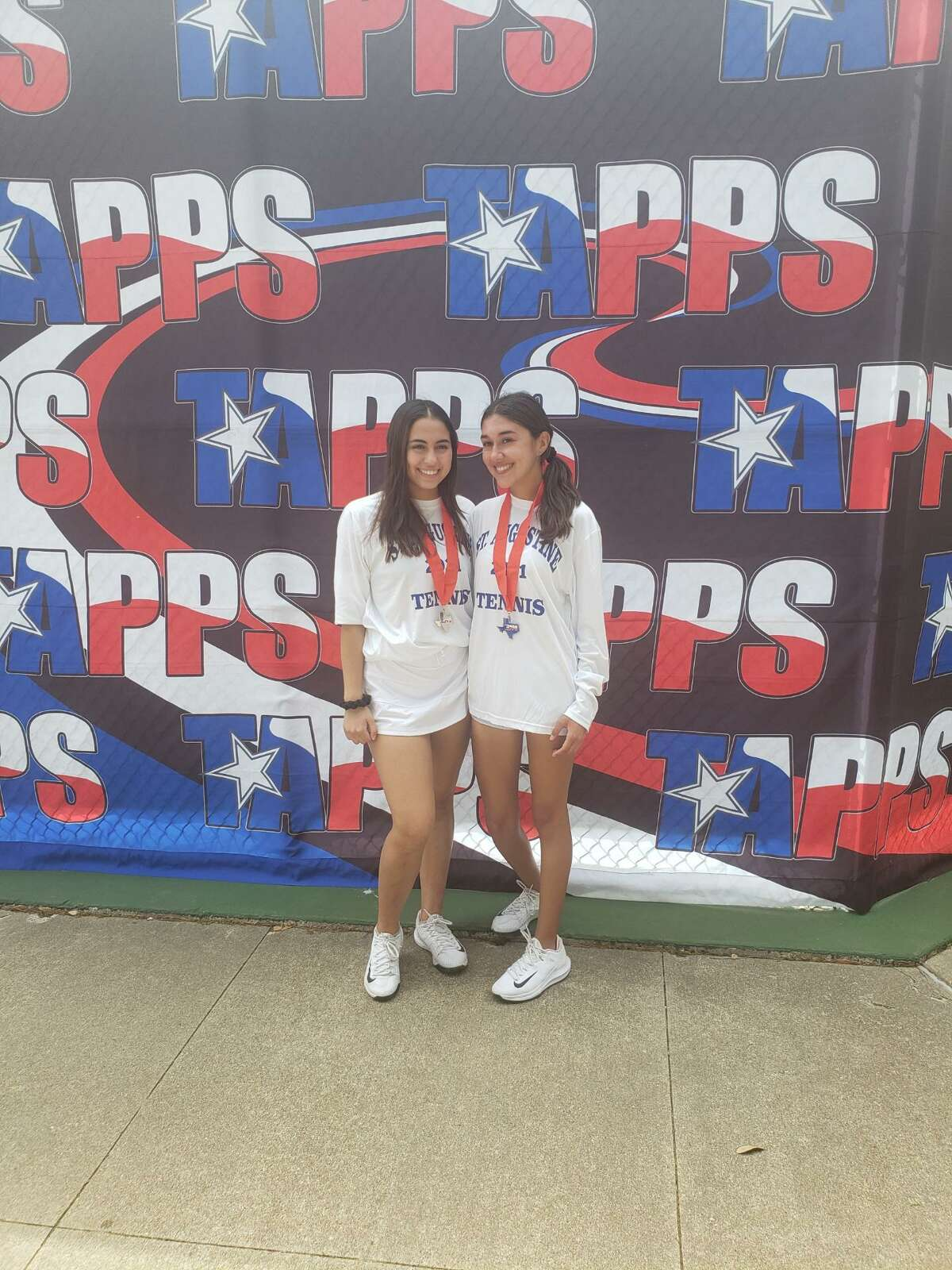 St. Augustine duo Amelie Quesada and Ali Garcia finished second in girls' doubles at the TAPPS 5A State meet on Wednesday.