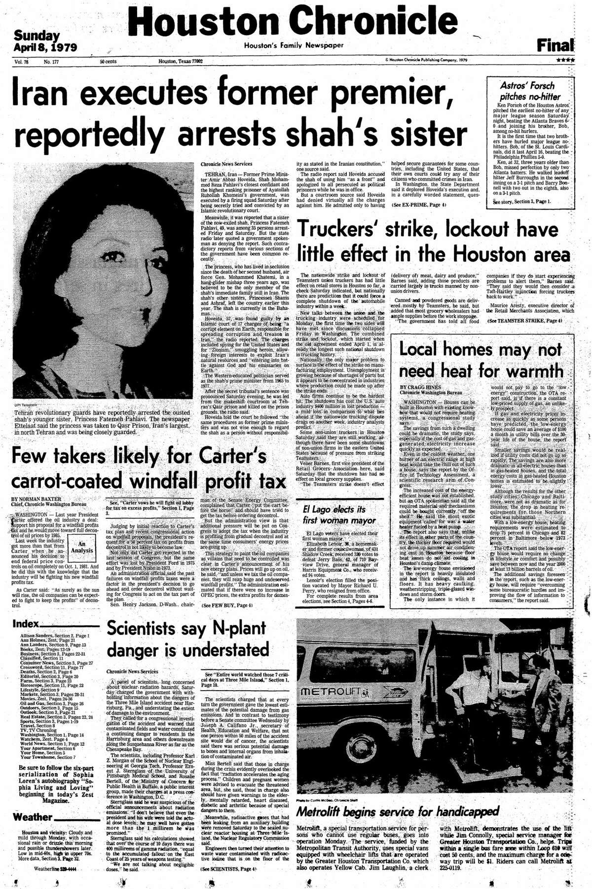 Houston Chronicle front page for April 8, 1979.