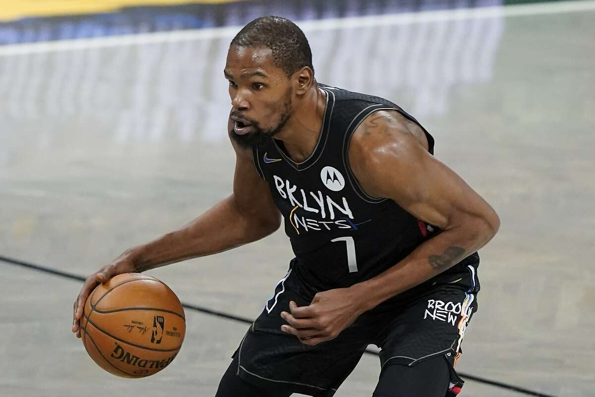Brooklyn Nets' Kevin Durant during the first half of an NBA basketball game against the New Orleans Pelicans Wednesday, April 7, 2021, in New York. (AP Photo/Frank Franklin II)