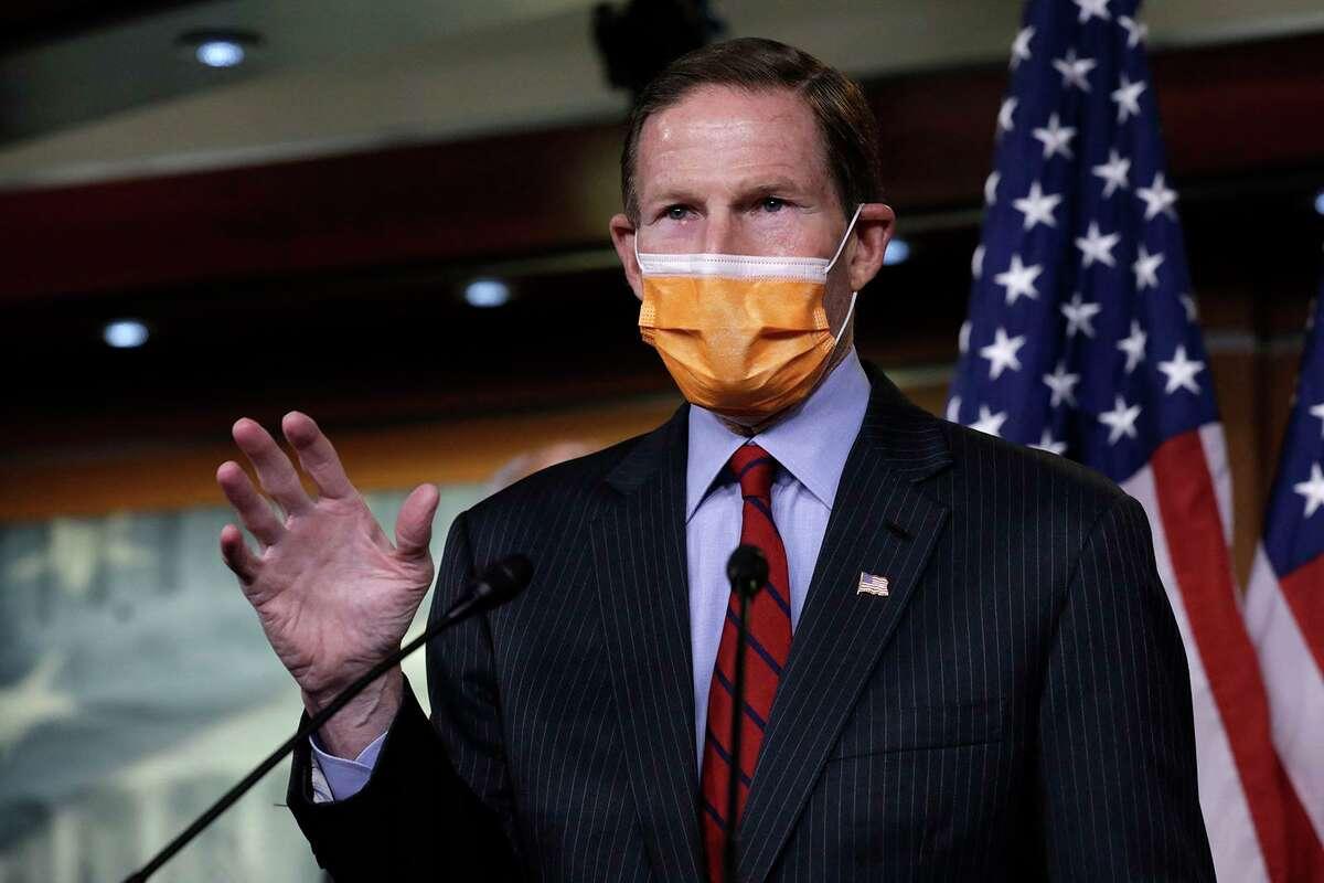 U.S. Sen. Richard Blumenthal, D-Conn., speaks during a news conference on passage of gun violence prevention legislation on Capitol Hill in Washington on March 11, 2021. (Yuri Gripas/ABACAPRESS.COM/TNS)