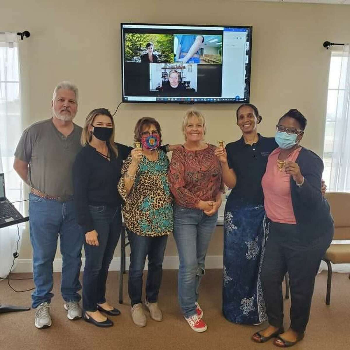"""A new Toastmasters Club - """"Montgomery Speaks"""" - is forming in Montgomery. The club meets on the second and fourth Monday of the month at Hope Tabernacle on Freeport Drive. Pictured here is a hybrid meeting with some members in person and some online."""