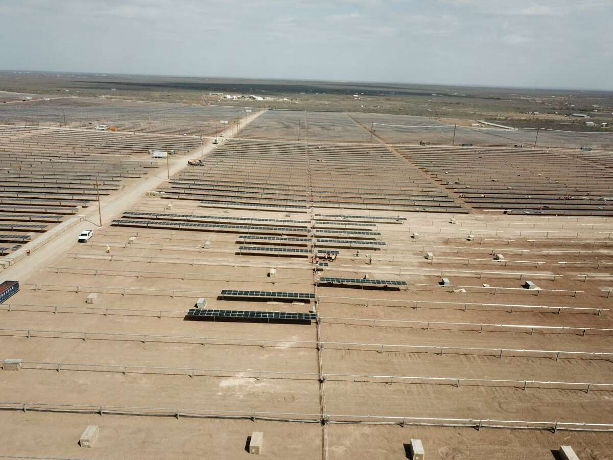 Corazon Solar is a 200 megawatt solar farm under construction on 2,000 acres of a private ranch east of Laredo.