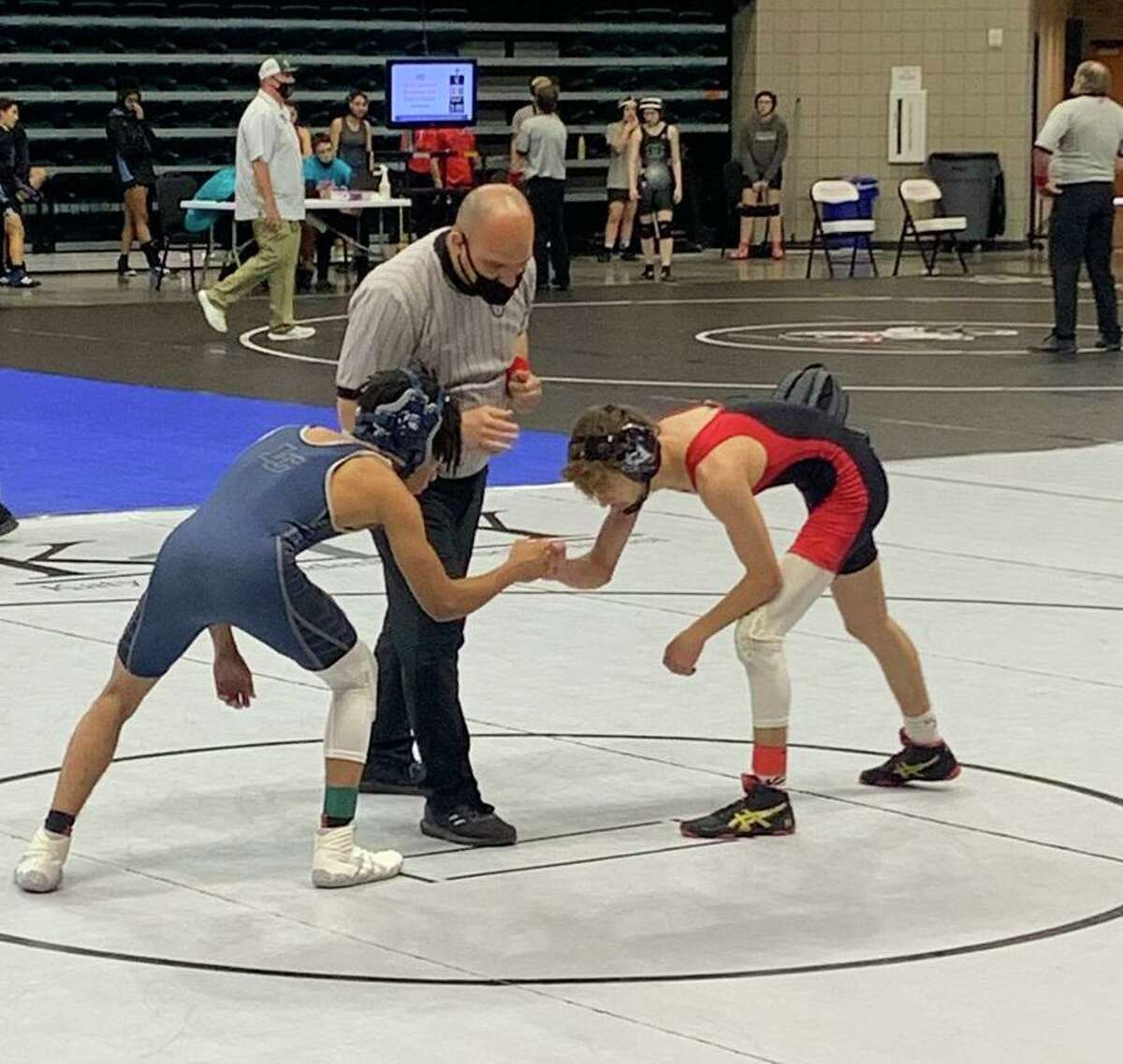Lamar Consolidated ISD had two finalists in the boys 106-pound class at the District 11-5A championships at the Merrell Center, as LCHS' Elijah Willis faced Terry's Travis LaChapelle.