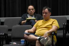 """Executive Director John Manfredi (left) and Donny Avery watch as Ramona Young rehearses for Beaumont Community Players' upcoming performance, a Texas debut of Jacques Lamarre's play """"I Loved, I Lost, I Made Spaghetti,"""" based on the memoir by Guilia Melucci. A reviewer described the one-woman show as """"Sex and the City meets the Food Network."""" It is also the first in-theater performance for BCP since shutting down in March of 2020 due to COVID-19. Audience members will not only get a show, but a full Italian dinner, made from scratch right down to the hand rolled pasta topped with Director John Manfredi's grandmother's secret sauce. Ingredients for the meal are also locally sourced from the Farmer's Market. Photo made Wednesday, March 31, 2021 Kim Brent/The Enterprise"""