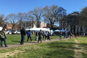 A FEMA Mobile Vaccination Unit on the New Haven Green.