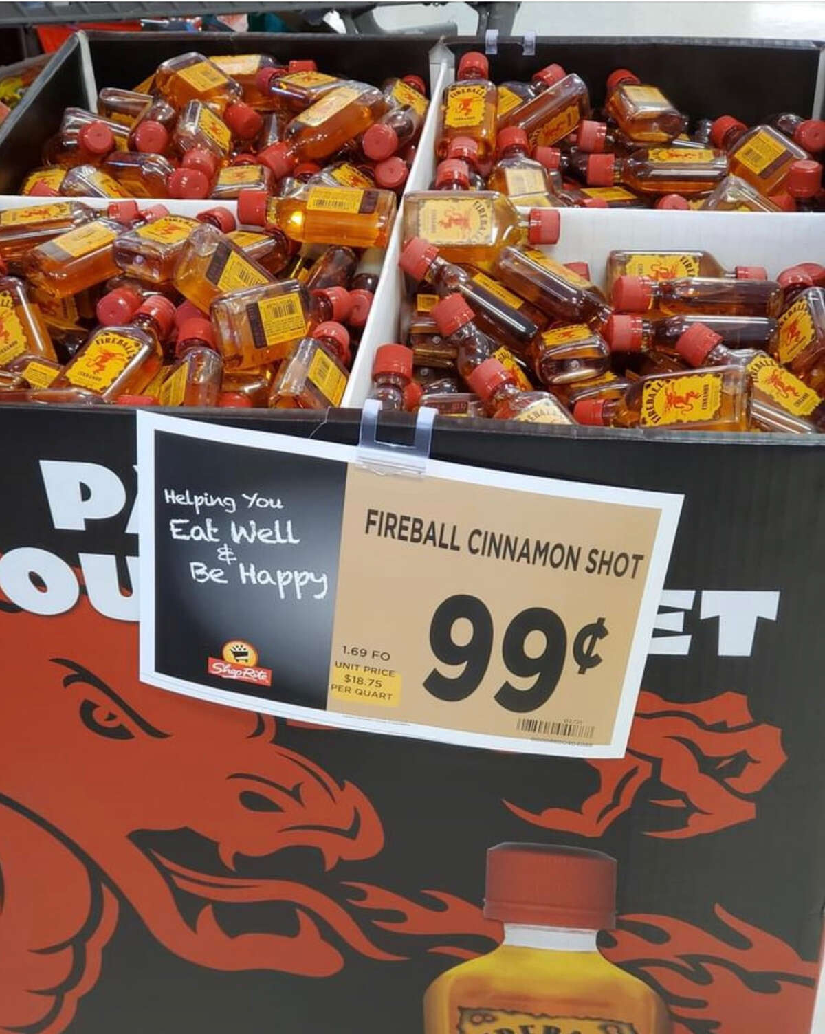 A display in a local supermarket of Fireball Cinnamon, a lower-alcohol, malt-liquor version of the popular Fireball Cinnamon Whisky. The latter is available only in liquor stores. (Provided photo.)