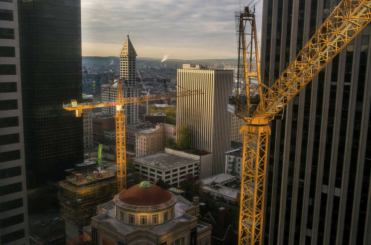 A downtown construction crane is viewed from the Renaissance Hotel on November 4, 2015, in Seattle, Washington.
