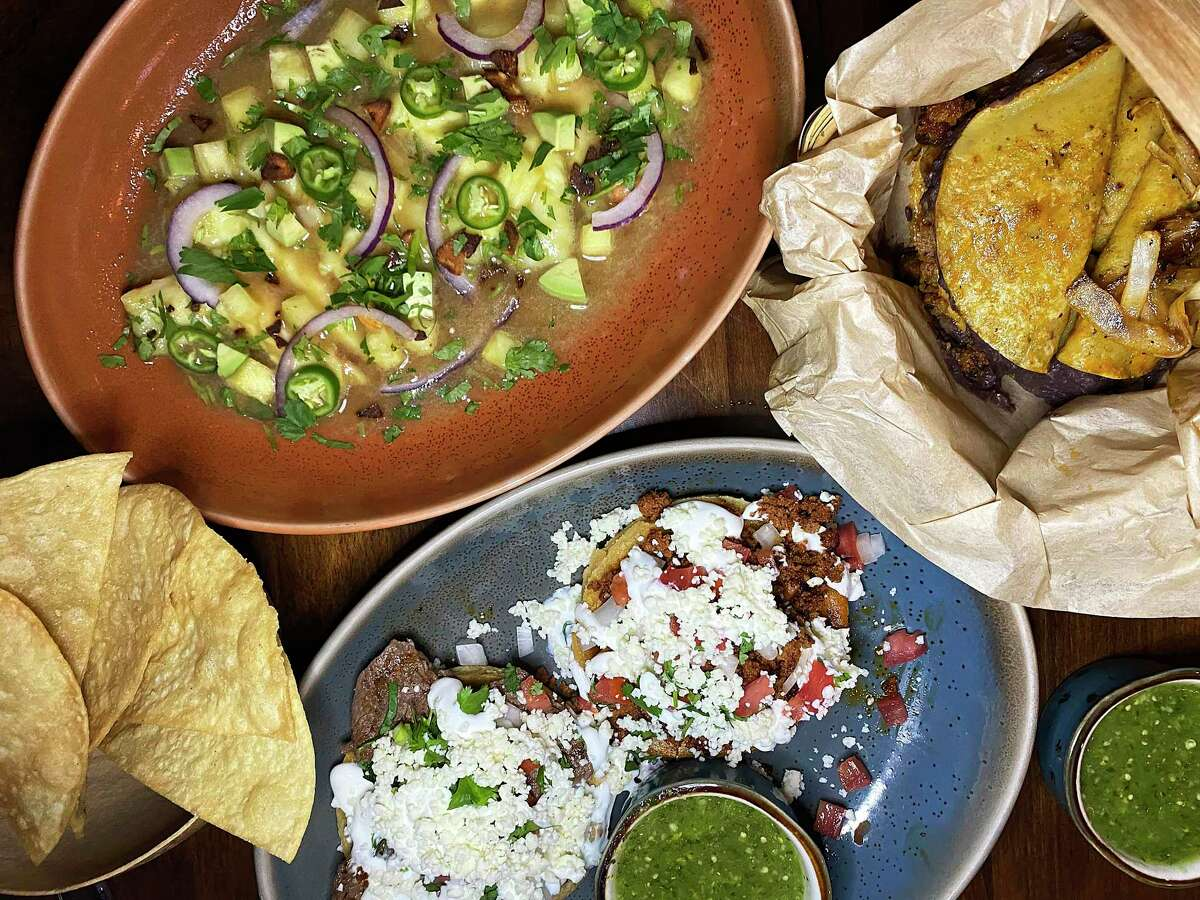 The menu includes, clockwise from top left, shrimp aguachile verde, tacos de canasta and sopes with chorizo or bistek at Cuishe Cocina Mexicana, a Mexican restaurant in Stone Oak.