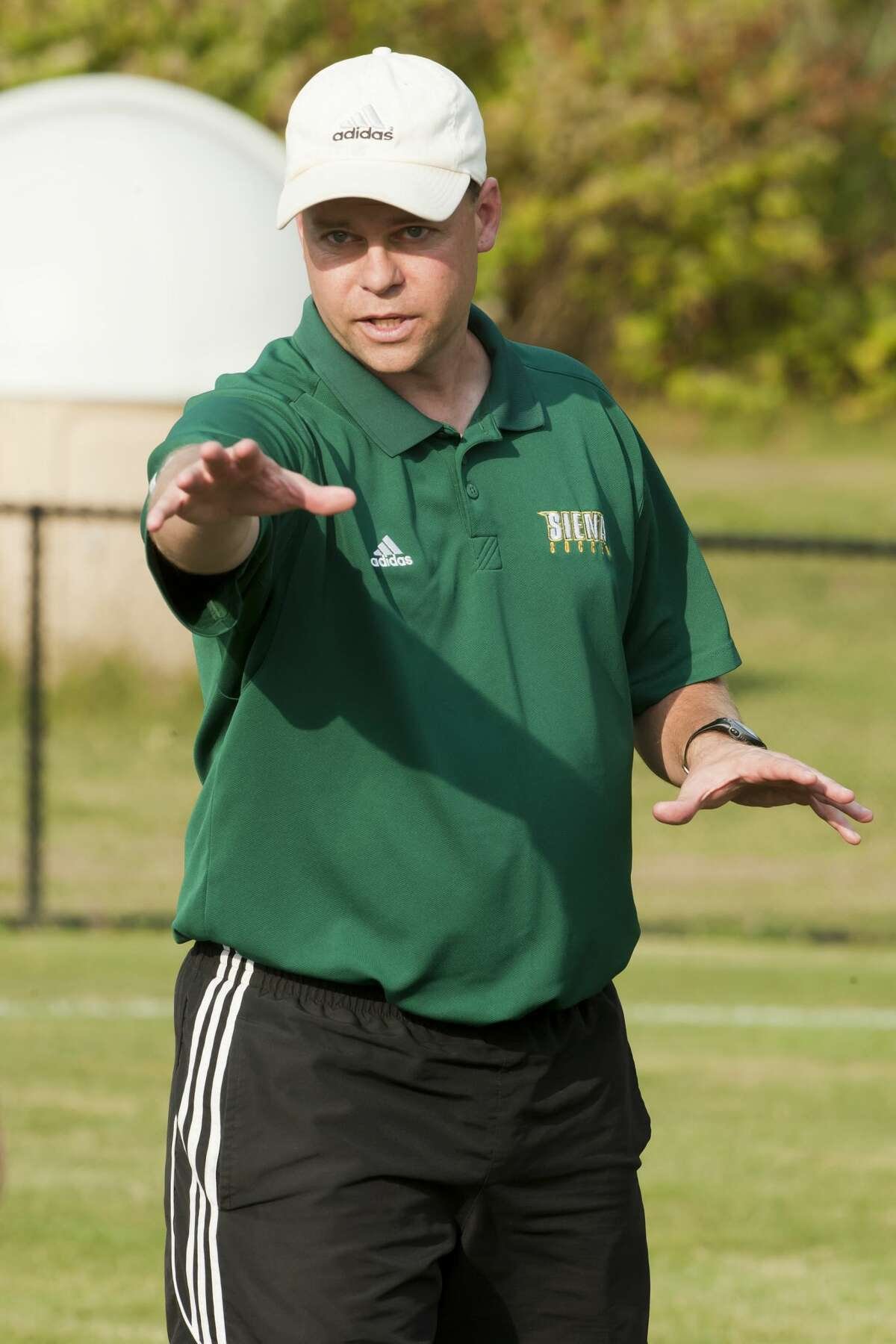 Head coach Steve Karbowski led Siena women's soccer to its first Metro Atlantic Athletic Conference regular-season title. (Siena athletic communications)