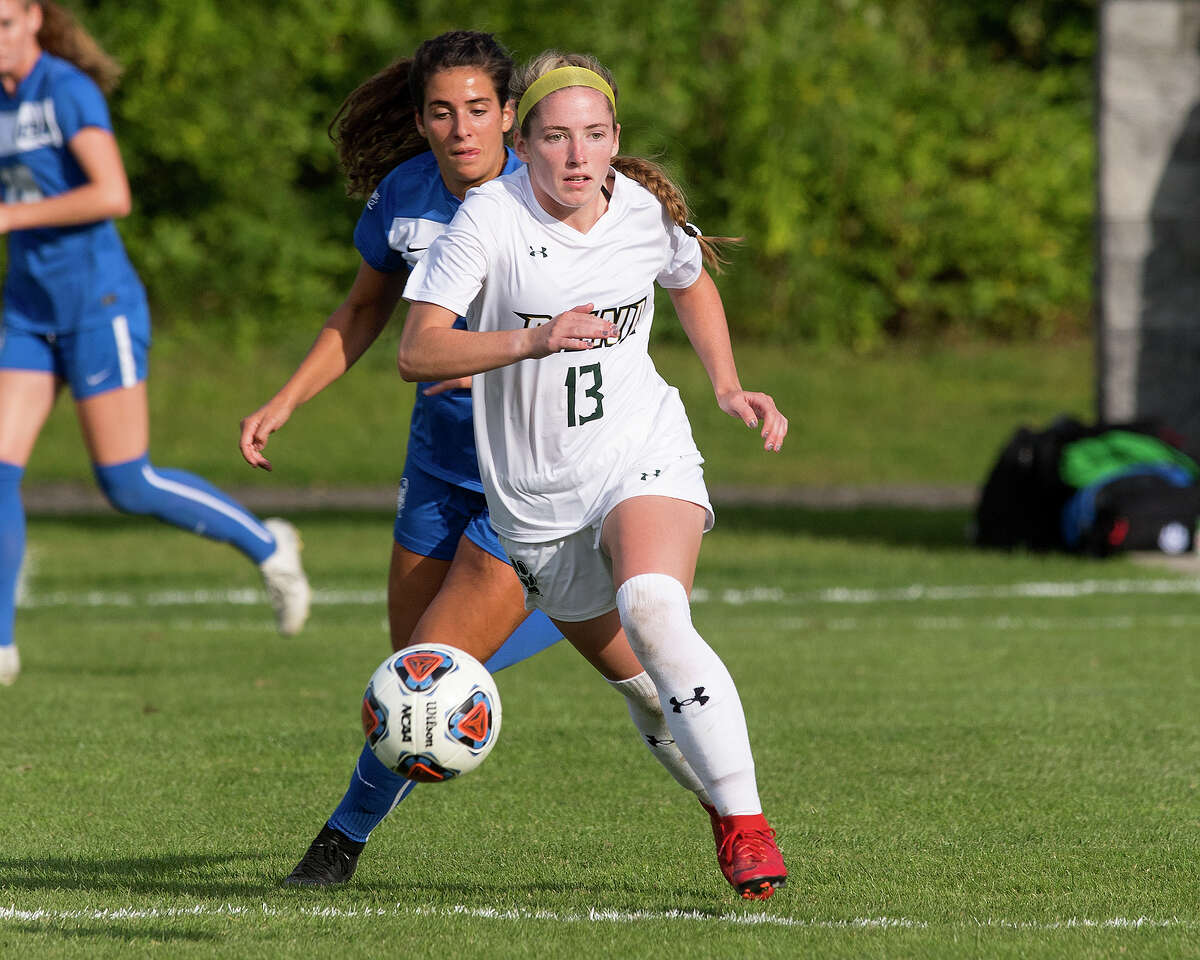 Schoharie graduate Carrie Krohn and her Siena soccer teammates will face Iona in a Metro Atlantic Athletic Conference quarterfinal on Friday, April 9, 2021. (Siena athletic communications)