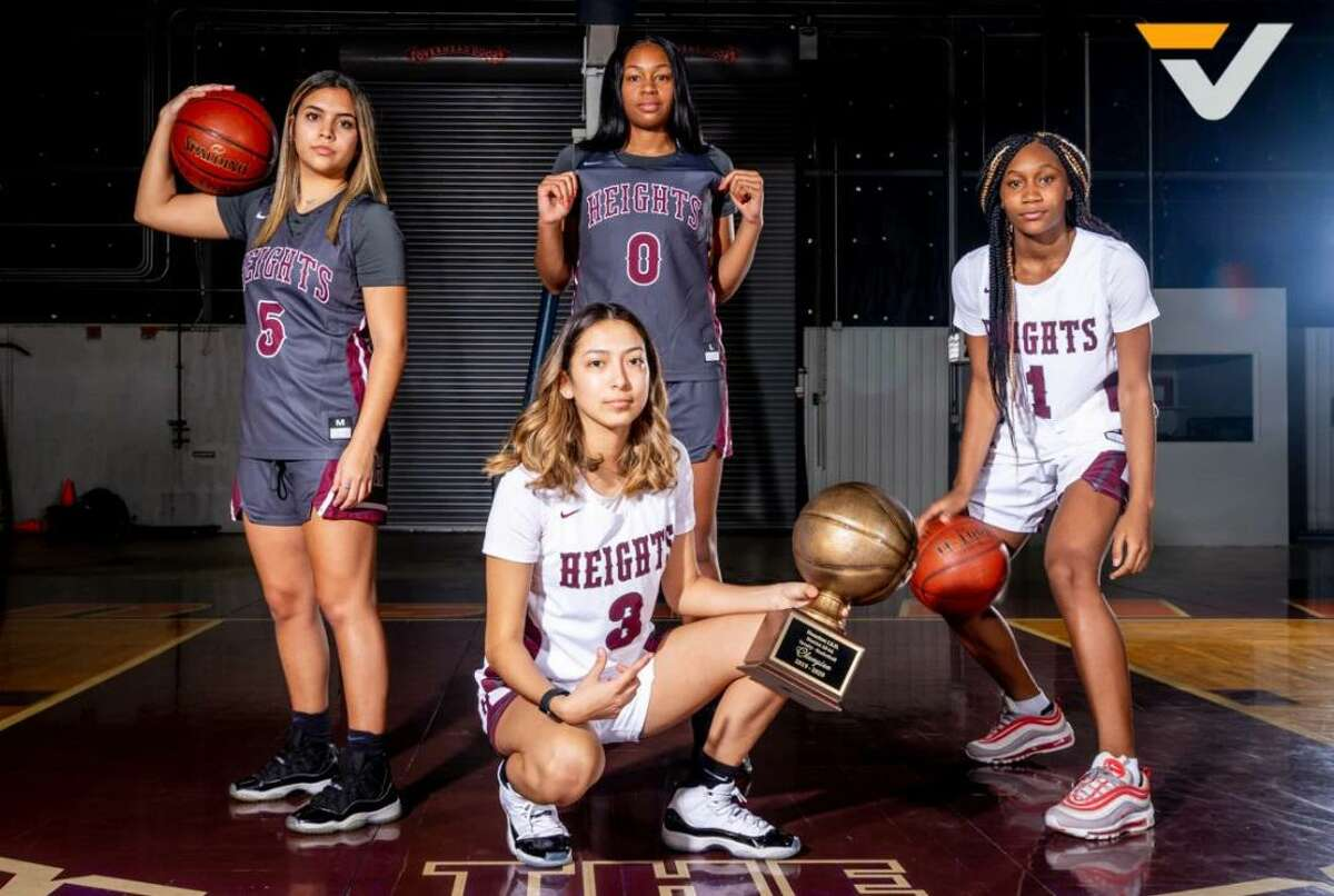 The Heights girls basketball team repeated as district and area champions in 2021, led by a group including pictured all-district selections Aaliyah Macias (5), Tierra Simon (0), Sincere Roberts (1) and Gracelynn Alvarez (3).