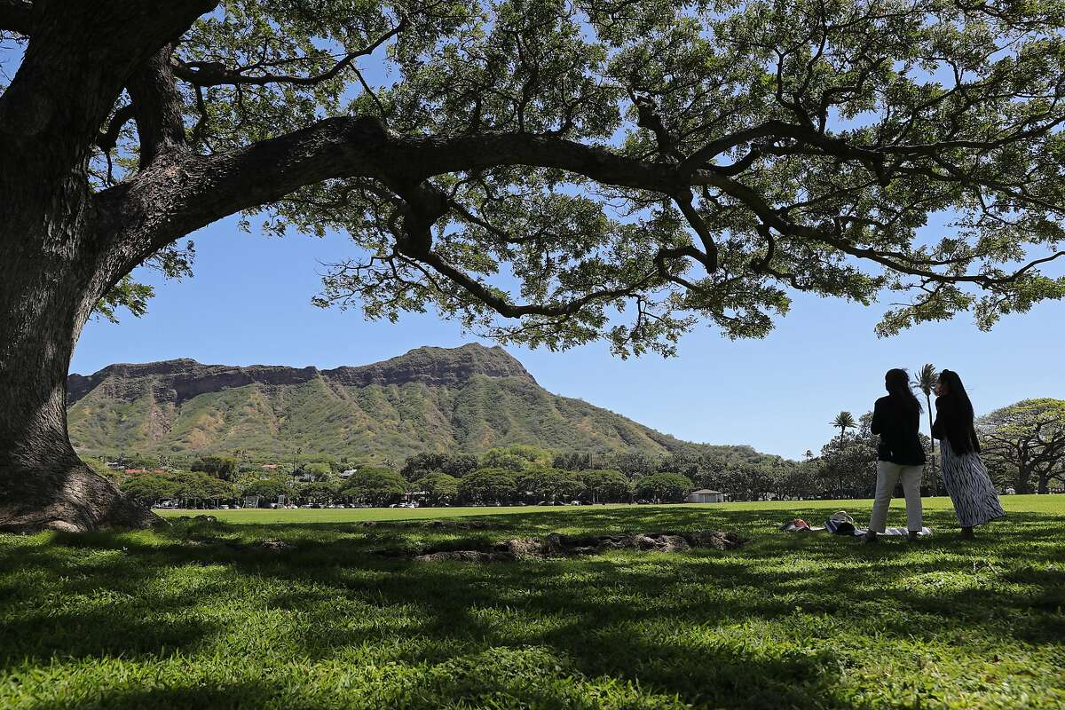 A view of Diamond Head State Monument from Kapiolani Park in Honolulu, March 3, 2021.