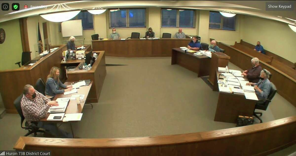 The Huron County Planning Commission during this week's meeting, seen over Zoom. During the meeting, the planners held officer elections, approved a permit for a sand mine, and approved site plans for Sherman Township and Buchholz Properties. (Robert Creenan/Huron Daily Tribune)