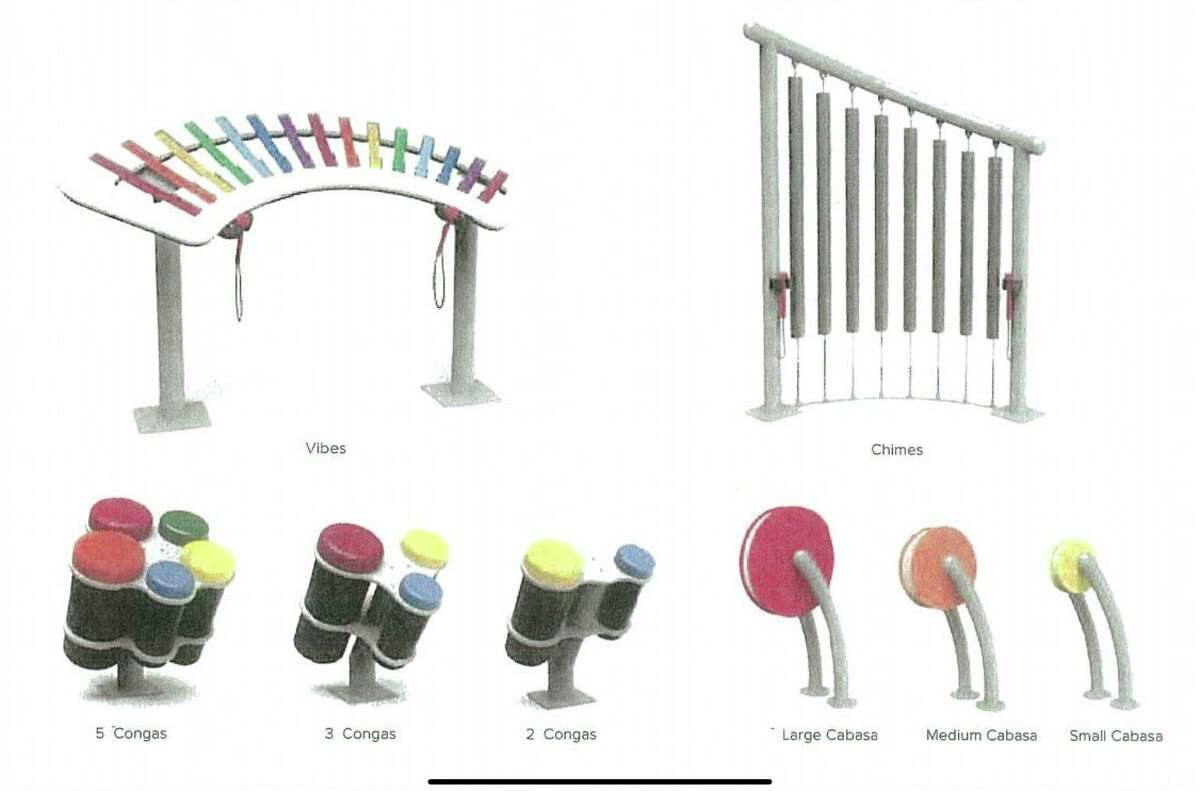 The improvements at the Anna Howard Shaw Memorial Park playground will include interactive equipment similar to those pictured. (Photo courtesy of Big Rapids city commission)
