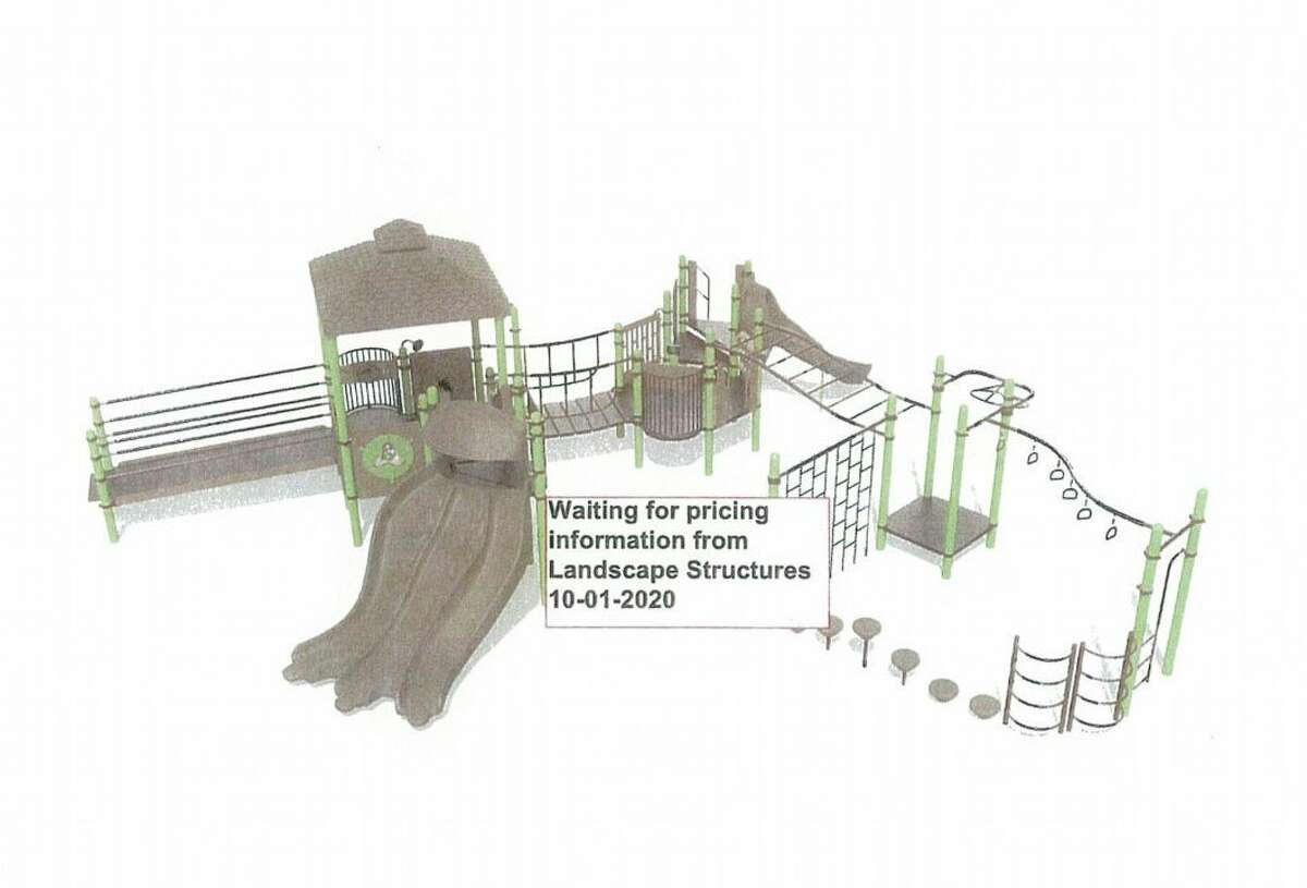The above rendering is an example of the type of playground equipment to be installed at the Anna Howard Shaw Memorial Park. The equipment will be ADA and Universally accessible compliant. (Photo courtesy of Big Rapids city commission)