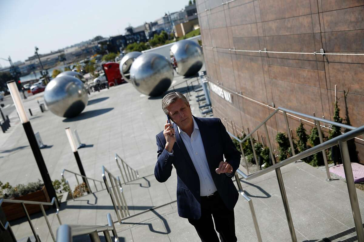 Rick Welts walks up stairs at Chase Center, the San Francisco arena that very nearly did not get built. It required some help from a famous Salesforce CEO.