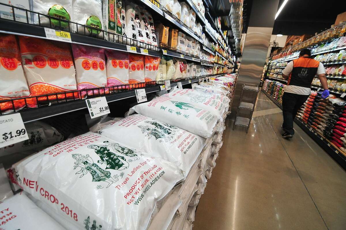 H Mart, known for its Asian food products, is opening an outpost in the Oceanview Village Shopping in San Francisco. Pictured is the inside of an H Mart in Katy, Texas.