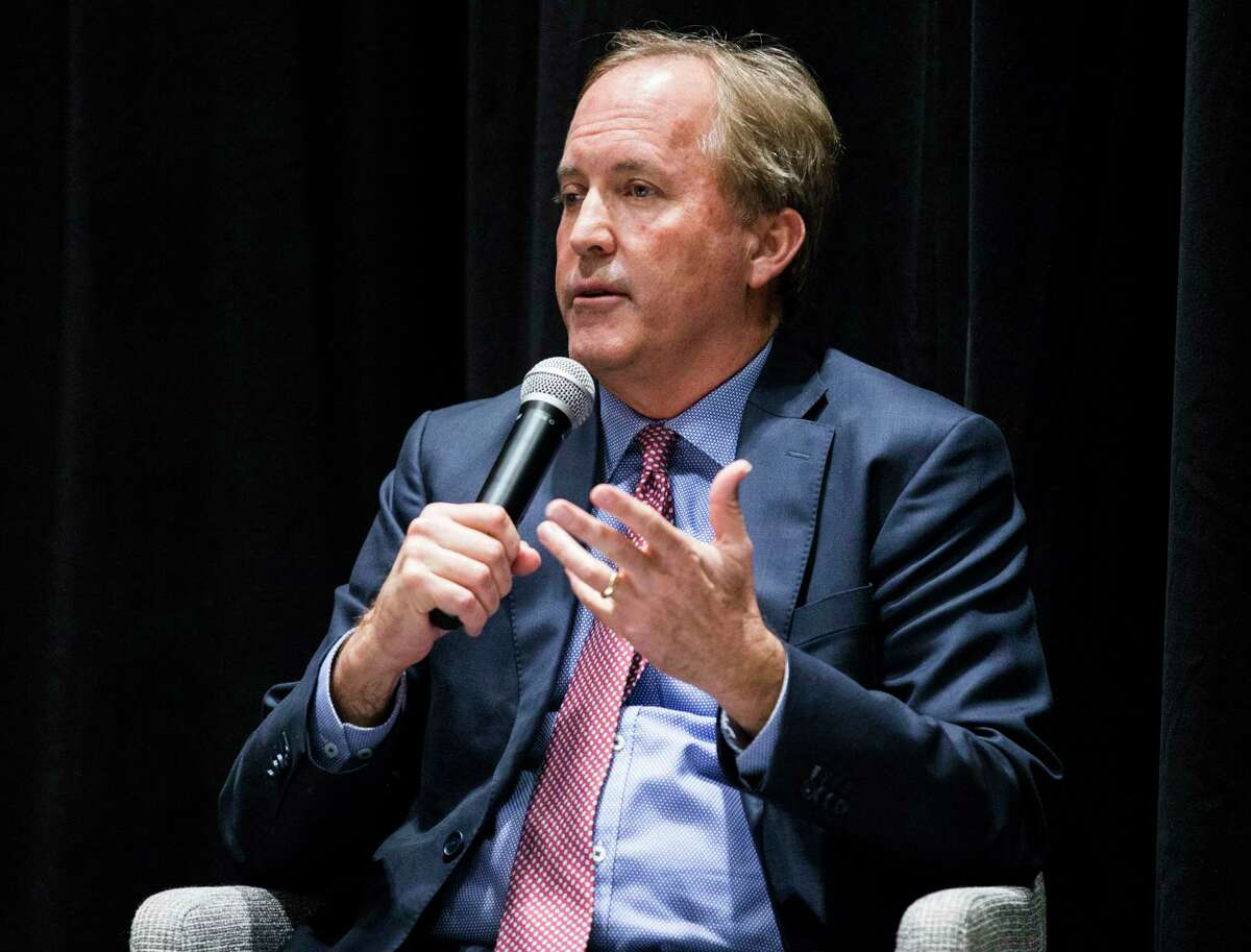 Texas Attorney General Ken Paxton on Feb. 26, 2020, at The Dallas Morning News Auditorium in Dallas. (Ashley Landis/The Dallas Morning News/TNS)