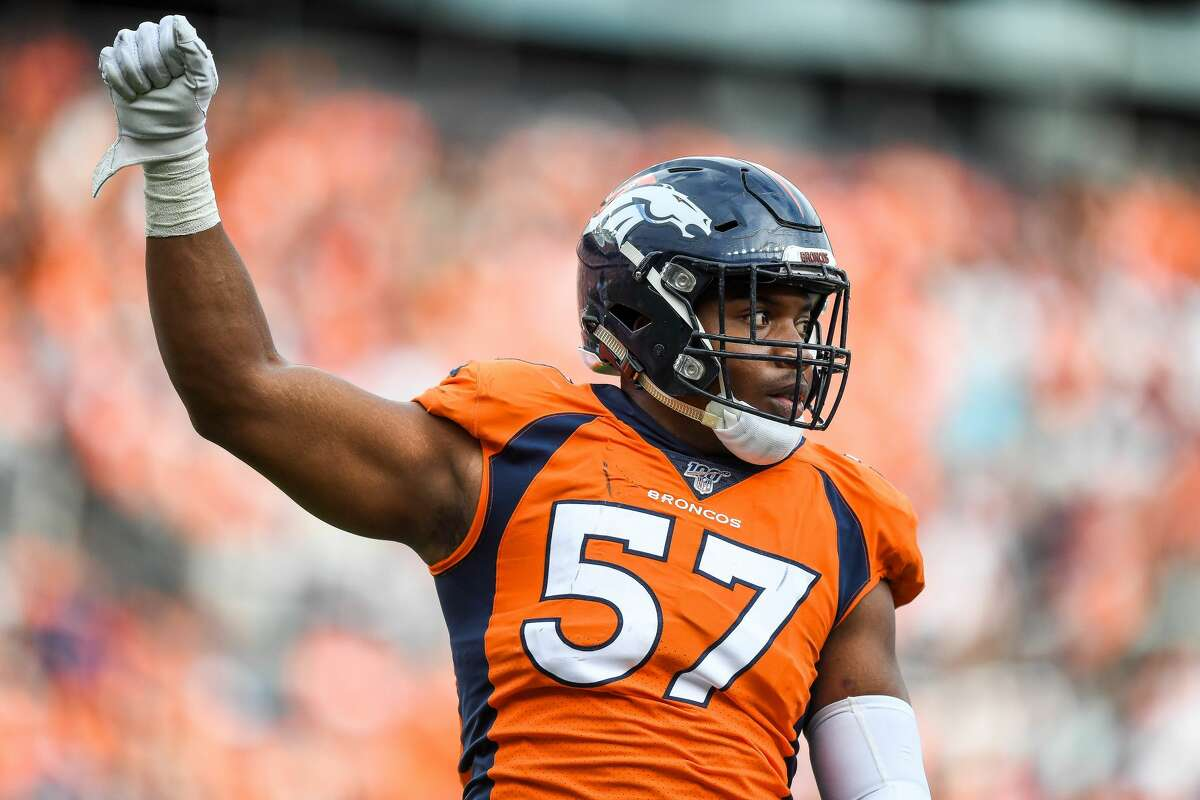DENVER, CO - SEPTEMBER 15: DeMarcus Walker #57 of the Denver Broncos celebrates a stop against the Chicago Bears at Empower Field at Mile High on September 15, 2019 in Denver, Colorado. (Photo by Dustin Bradford/Getty Images)