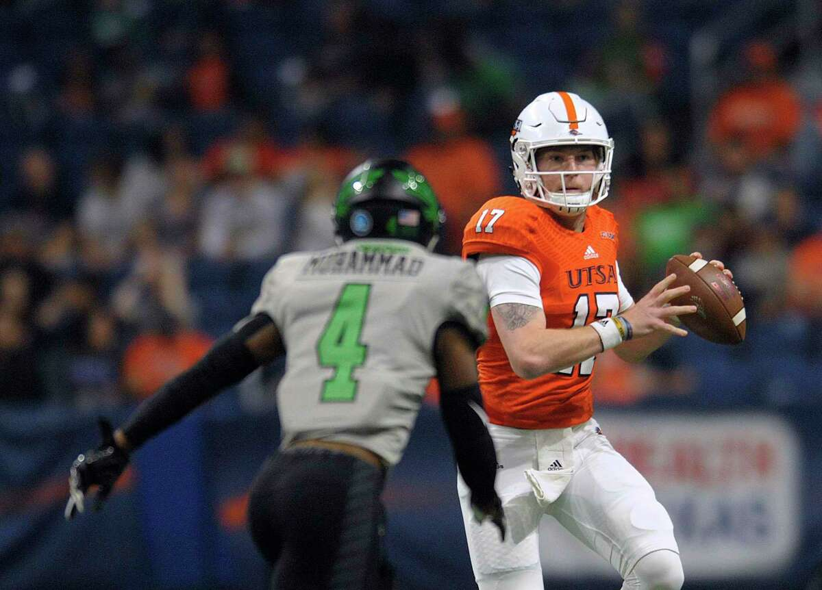UTSA quarterback Bryce Rivers looks for a receiver during college football action against North Texas in the Alamodome on Saturday, Nov. 24, 2018.