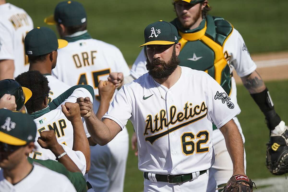 A's reliever Lou Trivino (62) has two saves, a 1.38 ERA and renewed confidence after two somewhat rocky seasons.