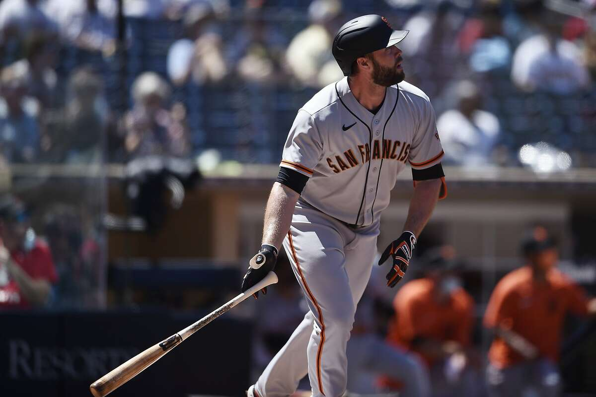 San Francisco Giants' Darin Ruf looks up after hitting a two-run home run during the second inning of a baseball game against the San Diego Padres in San Diego, Wednesday, April 7, 2021. (AP Photo/Kelvin Kuo)