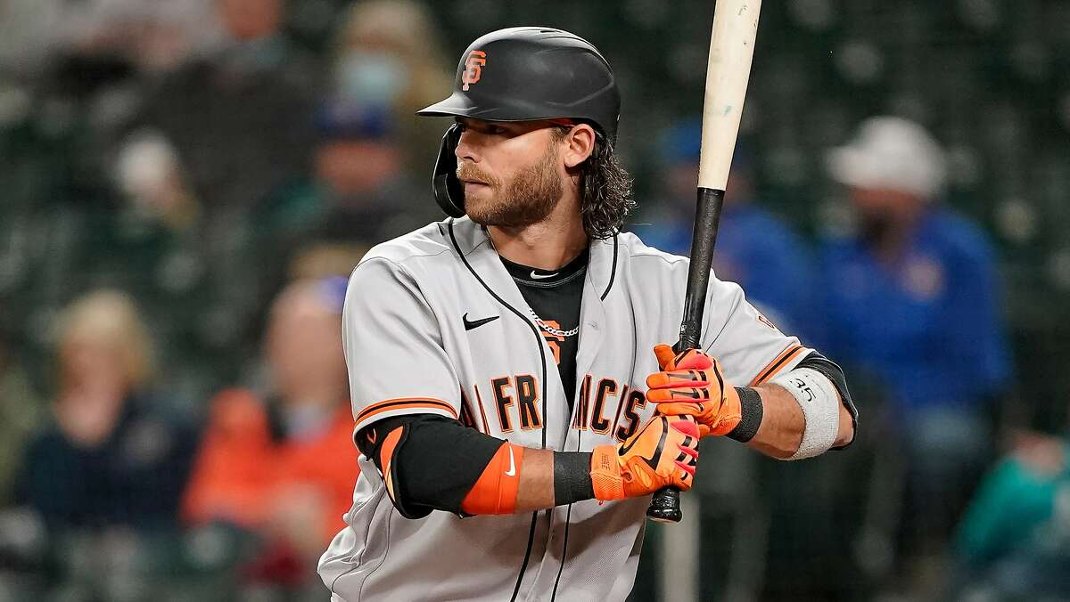 San Francisco Giants' Brandon Crawford in action against the Seattle Mariners during a baseball game, Saturday, April 3, 2021, in Seattle. (AP Photo/Ted S. Warren)
