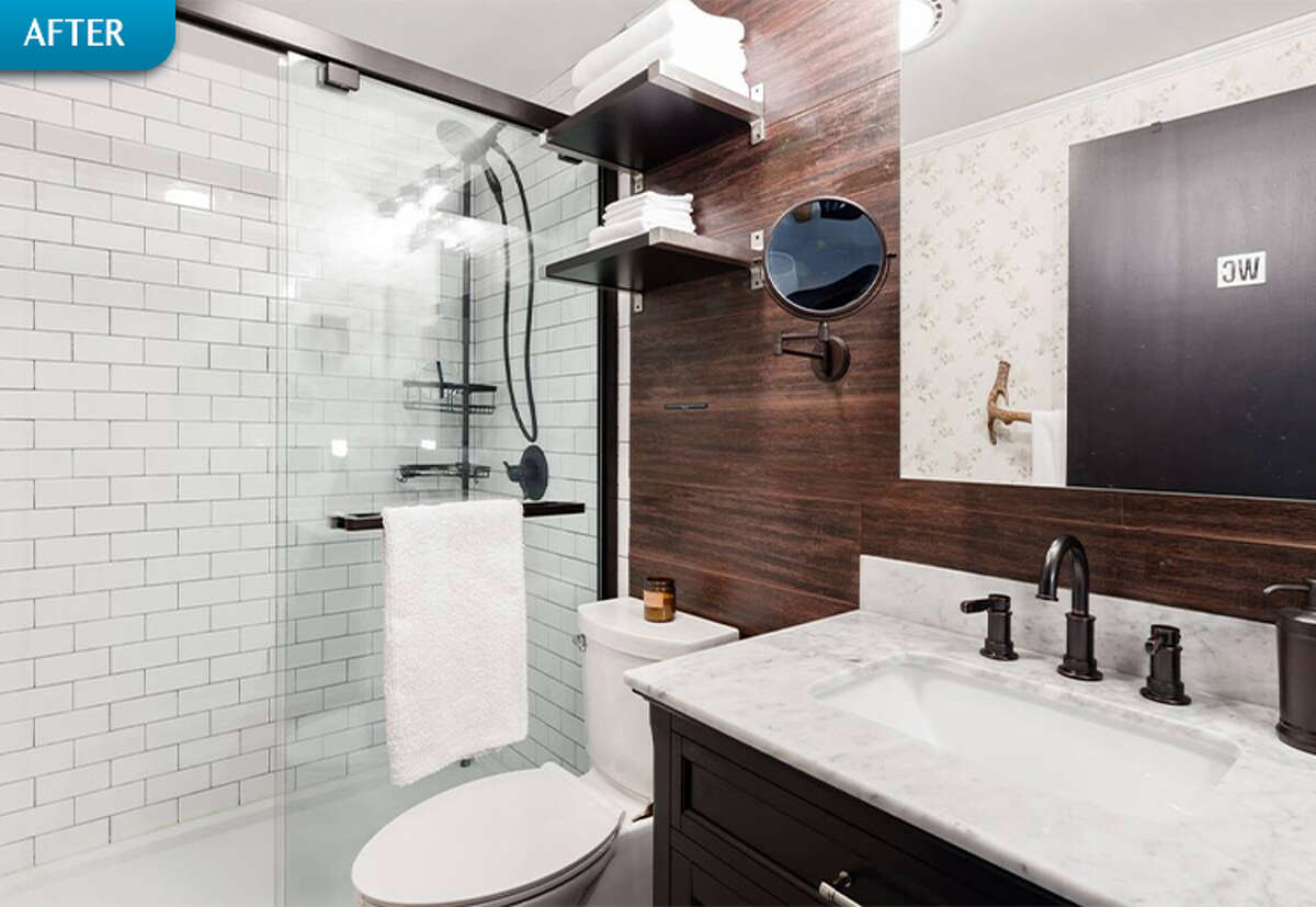 AFTER: The modernized bathroom is clean and sleek - but winks at its Catskills setting with a branch-like towel rack.