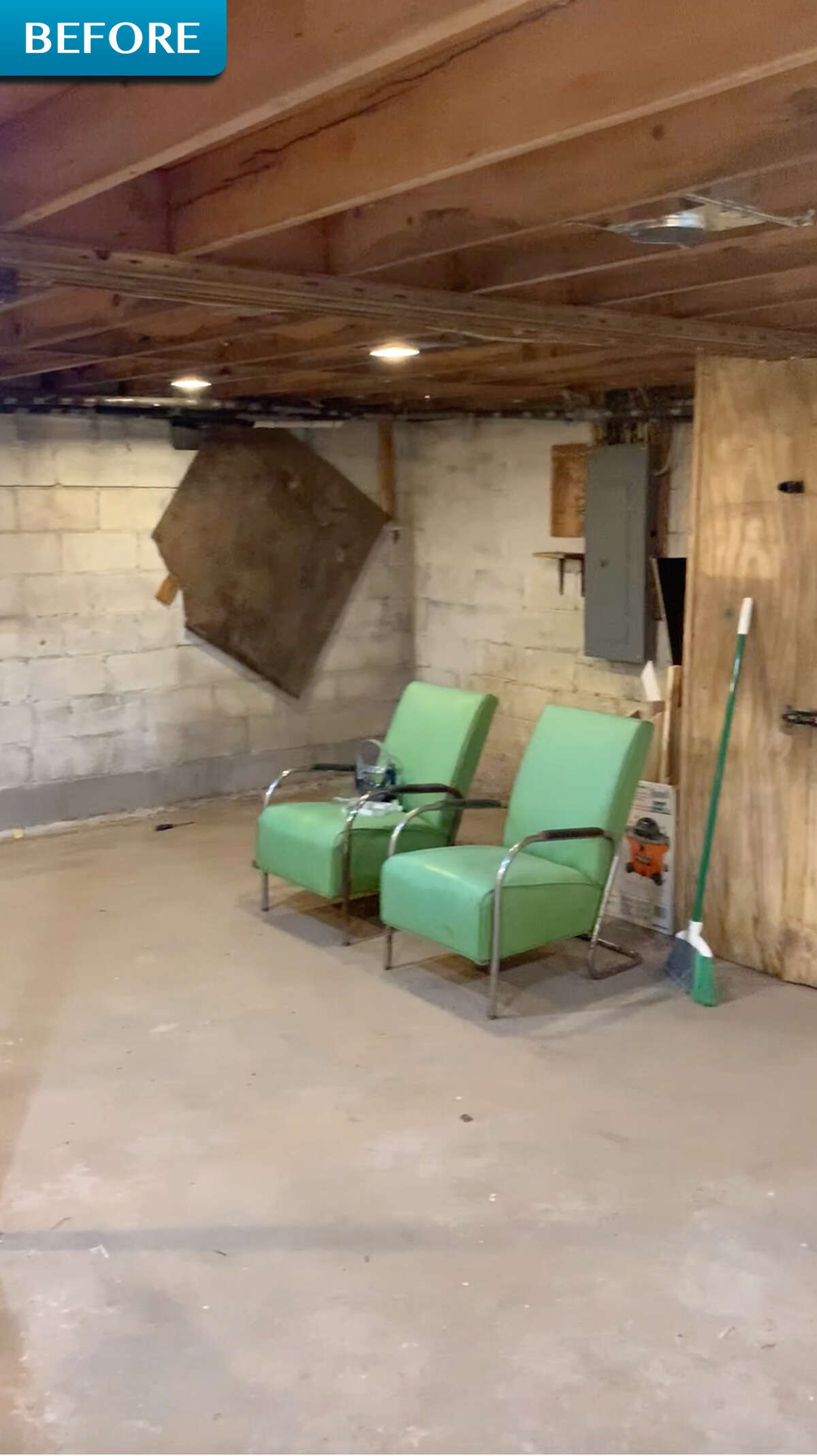 """BEFORE: Robert Fuller said of his cabin's original basement: """"The basement was very eerie, dark, damp and dismal and filled with mold."""""""