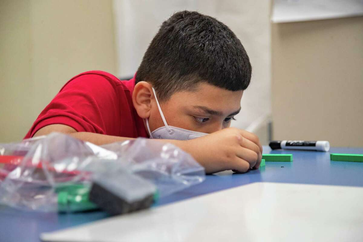 Best Elementary School second-grade student Christofer Alvarenga practices counting during a math intervention class Thursday, April 8, 2021, in Alief ISD.
