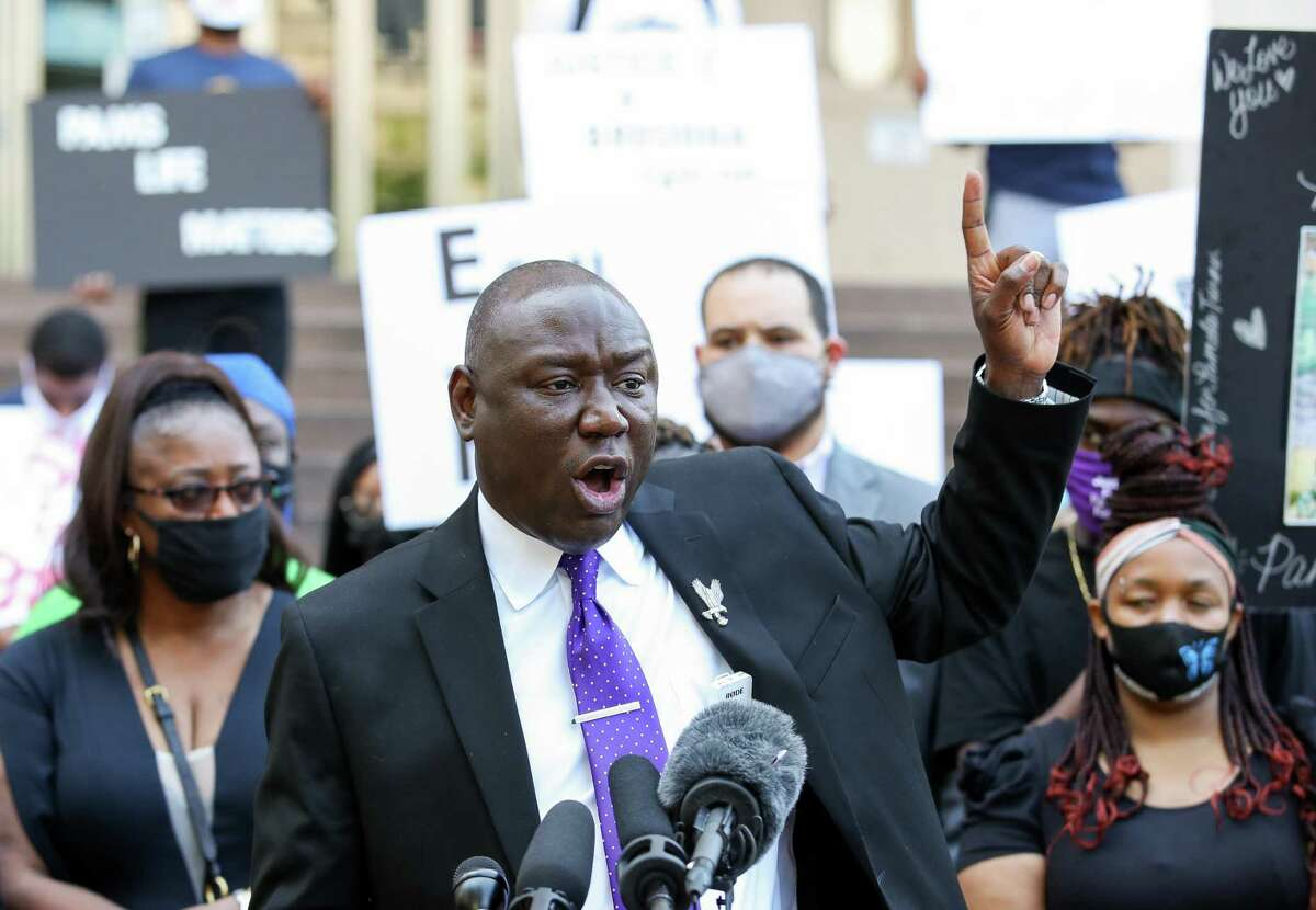 Attorney Benjamin Crump talks to reporters during a press conference in which he announced the filing of a federal lawsuit against Baytown Police officer Juan Delacruz in the death of Pamela Turner, outside the Harris County Civil Courthouse on Thursday, April 8, 2021, in Houston. Turner, who would have turned 46 years old today, was shot and killed on May 13, 2019.
