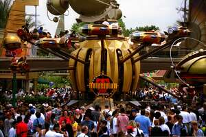 """Thousands of people flocked to the opening of the """"new Tomorrowland"""" in 1998."""