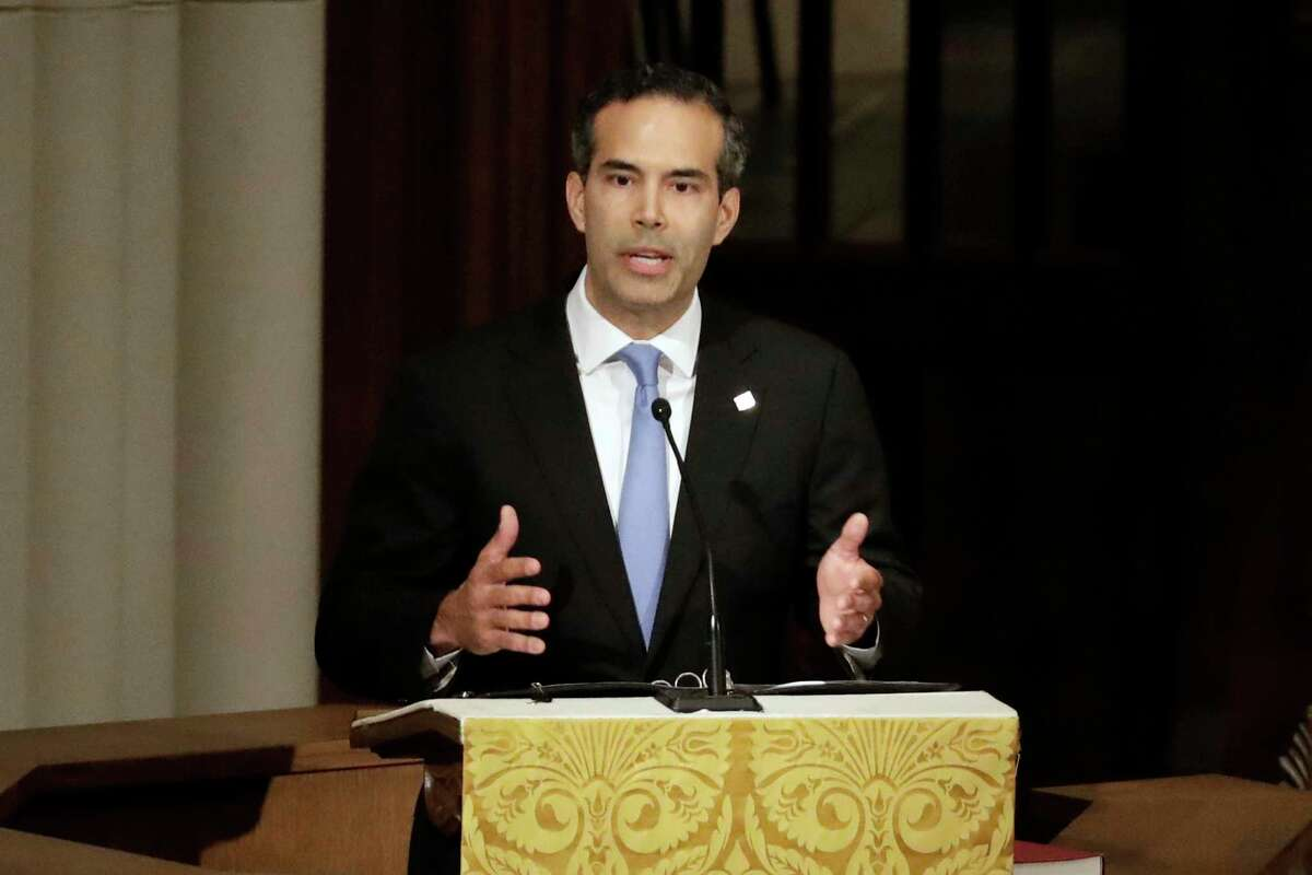 """FILE - In this Dec. 6, 2018 file photo, George P. Bush pauses as he gives a eulogy during a funeral for former President George H.W. Bush at St. Martin's Episcopal Church, in Houston. Bush condemned racism in his party Thursday, Dec. 12, 2019 over what he says is now a third instance in Texas this month of """"racist or hateful rhetoric,"""" the latest being a Facebook post that he suspects targets his own Hispanic family. (AP Photo/Mark Humphrey, File)"""