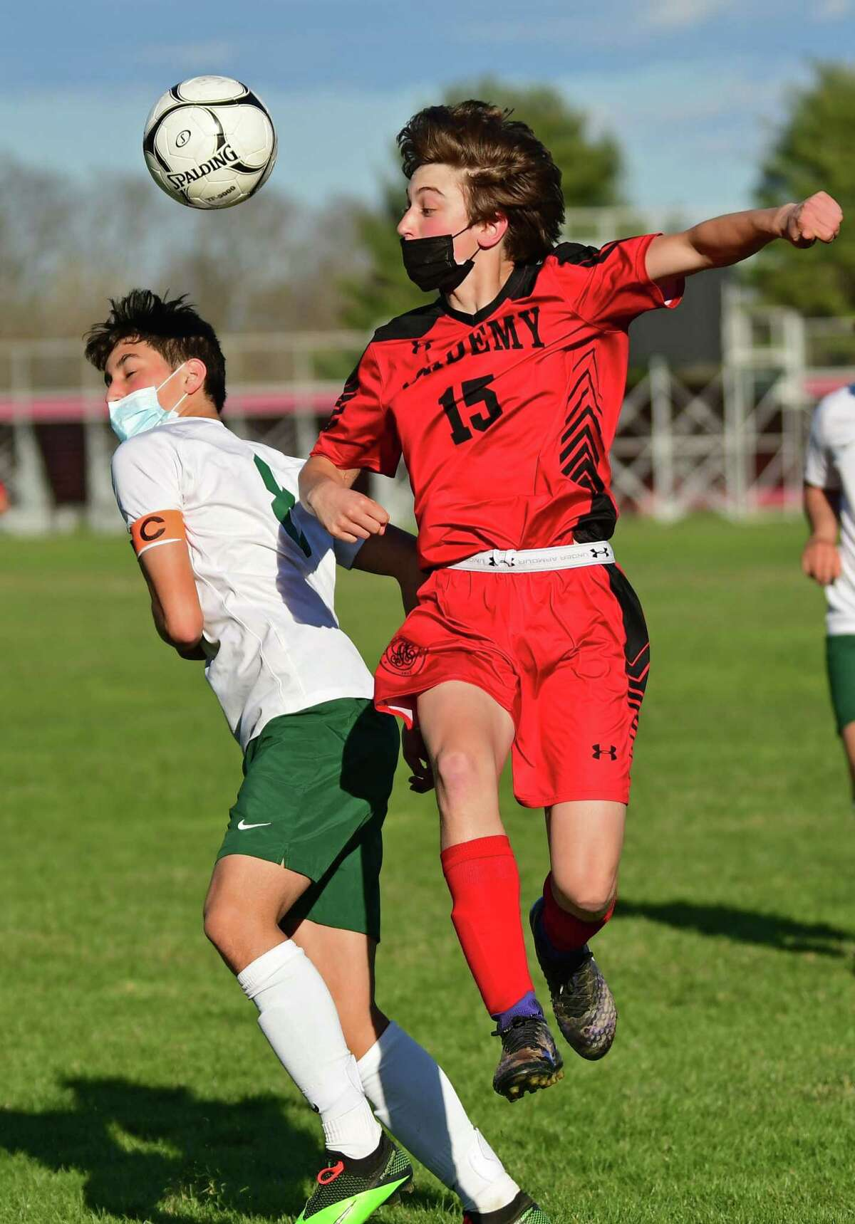Schalmont's Andrew Kusek, left, and Albany Academy's Tommy McGuire battle for the ball during a soccer game on Thursday, April 8, 2021. Kusek scored nine goals in two games in the week running from Sept. 6-12 to earn Athlete of the Week honors.