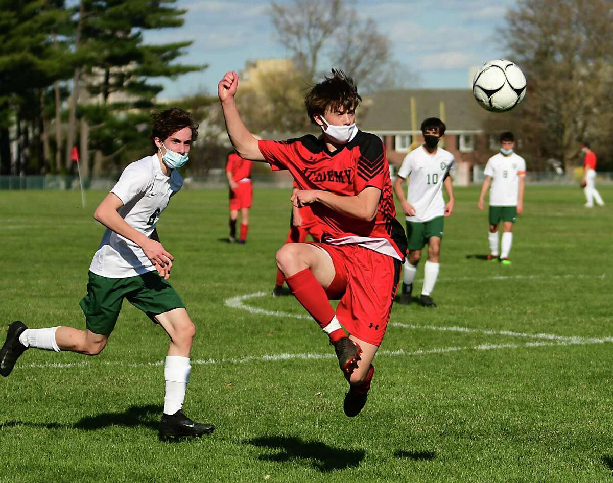 Albany Academy's Ian Young kicks the ball during a soccer game against Schalmont on Thursday, April 8, 2021 in Albany, N.Y. (Lori Van Buren/Times Union)